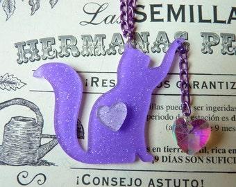 Glitter Purple Acrylic Cat Playing Necklace
