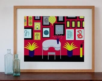 Retro Study Interior - Digital Art Print