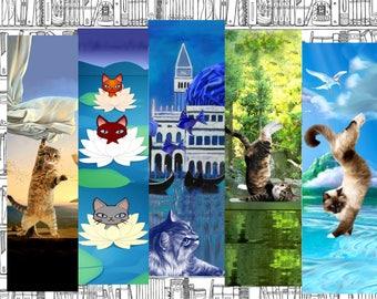 set of 5 bookmarks with cat: feline fancy, version 3