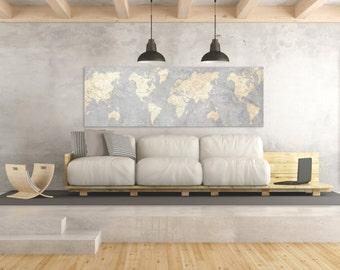 world map canvas print vintage neutral light gray beige world map panoramic horizontal long wall art