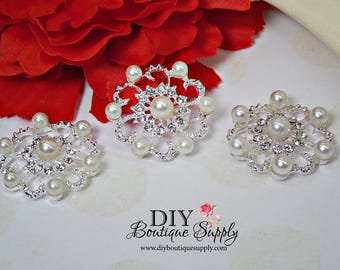 Large Pearl flatback embellishments Pearl Rhinestone buttons Crystal Button weddings bridal decor Big Pearl flower centers  3pcs 30mm N147