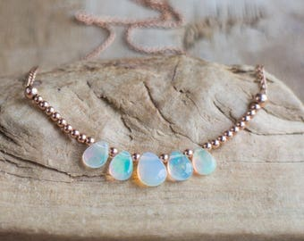 Welo opal necklace etsy opal necklace in silver gold or rose penta opal pendant october birthstone mozeypictures Gallery