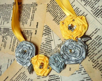 Pretty Beaded Rosette Necklace... Daffodil Yellow, Satiny Silver Handmade and Unique