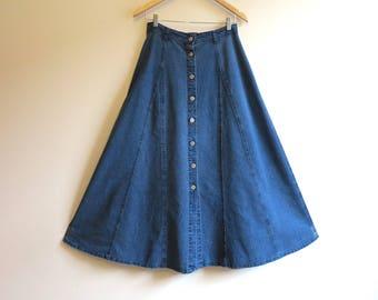Blue Skirt Denim Skirt Buttons Down Skirt Maxi Denim Skirt Long Jeans Skirt Full Gathered Skirt Medium Size