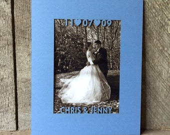 Custom Photo Matting in Dove Blue: Couples Names & Wedding Date/Personalized Wedding/Anniversary/Engagement/Picture Mat fits any 8x10 Frame
