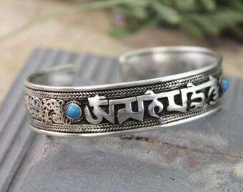 Dragon Turquoise Sanskrit Om Mani Bracelet
