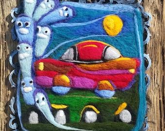 Halloween folk art,painting,ghosts,needle felting,gothic,cemetery,decor,wall,art,whimsical,haunted,handmade,primitive,clowncoffins