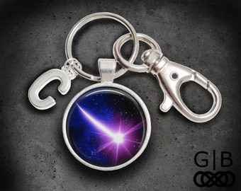 Shooting Star Keychain Purple Keyring Accessory - Shooting Star Accessories Bright Star Keychain - Bright Purple Keychain Star Keyring
