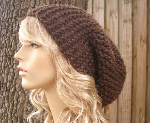 Womens Hat Mens Hat Slouchy Beanie Brown Hat Brown Beanie - Oversized Beanie Slouchy Hat Wood Brown Knit Hat - Womens Accessories Winter Hat