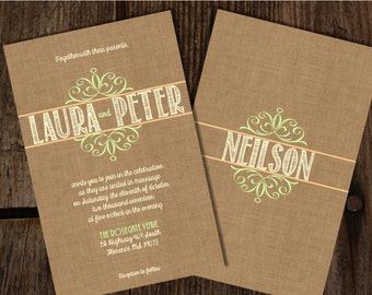 Custom Burlap Monogram Peach and Mint Wedding Invitations, Burlap Wedding Invitations, Burlap and lace Wedding, Burlap and Lace
