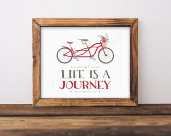 Life is a Journey. Tandem bike. Bicycle built for two. Wedding gift. Anniversary. Instant download print. PDF JPG diy printable. Blue. Red.