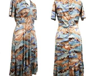 Vintage 1970's countryside impressionist painting print  dress | 70s dress | boho dress