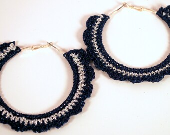 """Crochet Ruffled Hoop Earring 2 """""""