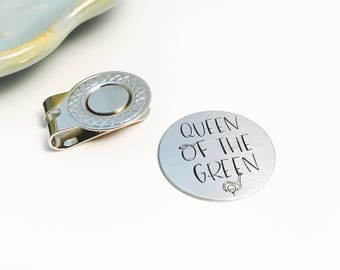 Magnetic - QUEEN of THE GREEN - Hand Stamped - Stainless Steel - Golf Ball Marker - Visor Clip - Golf Gift for Her - Lady Golfer Accessory