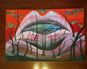 Original surrealism acrylic painting on 24x36 inch canvas