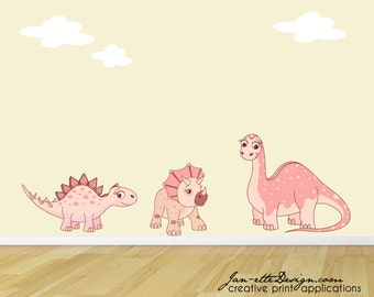 Girl Wall Decals,Pink Dinosaur Wall Stickers,Dinosaur Fabric Wall Decals