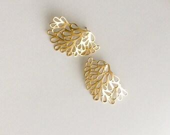 Gold Lace Earrings, Gold Filigree  Earrings, Post Gold Earrings, Modern Artisan Jewelry