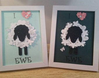 Sweet little hand made I <3 Ewe gifts with hand crafted embellishments. Beautiful gift for any occasion