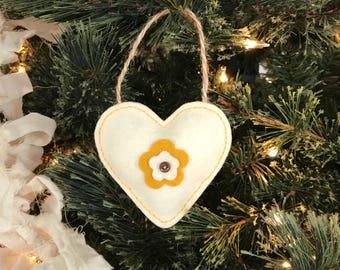 Ecru Floral Wool Felt Heart Ornament