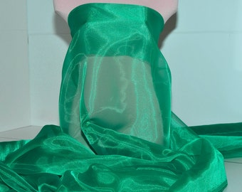 """Iridescent Organza fabric 60"""" wide.. sheer, Emerald 5641  .. formal wear, bridal, pageant, crafts, costumes, home decor"""