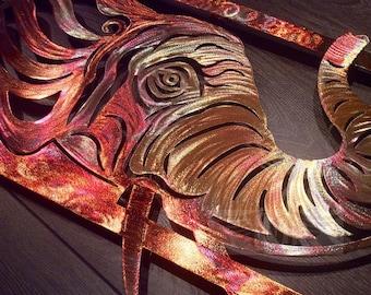 7th Anniversary (Copper Anniversary) Elephant Metal Art Wall Decor (PURE COPPER)