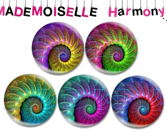 5 cabochons made of glass 25 mm spiral of the the size 25 mm