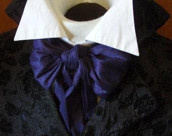 REGENCY Slim Tie Ascot Cravat Navy Blue Dupioni SILK