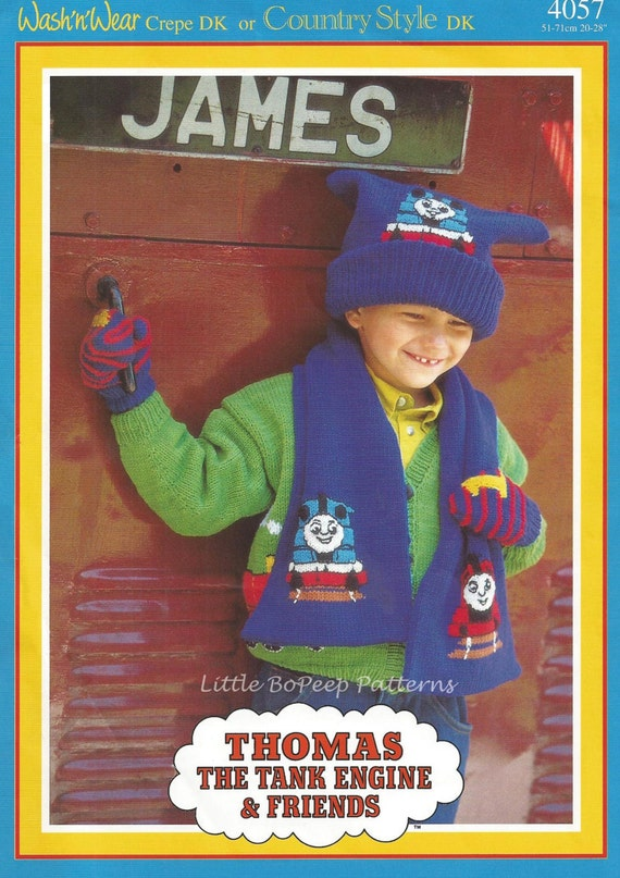 Thomas The Tank Engine Knitting Pattern Childs Hat Scarf And