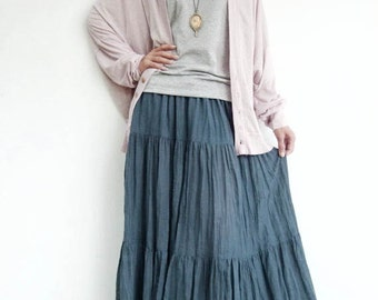 NO.5 Bluish Gray Cotton Gauze, Hippie Gypsy Boho Tiered Long Peasant Skirt