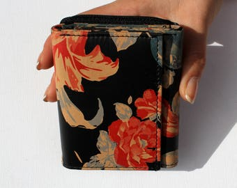 Small Grande Leather Trifold Wallet Floral