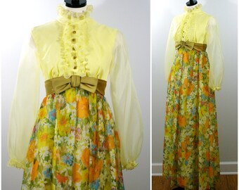 Vintage Floral Gown, Formal 60s Victorian Revival Empire Waist Floral Maxi Prom Dress, Long Sleeve Yellow Floral Gown, Bridesmaid Wedding