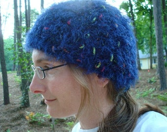 Fuzzy and Fun - Women's Multi-Colored Crochet Beanie Hat - Navy Thing 104B