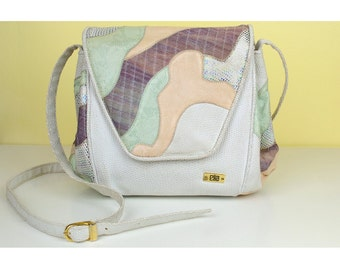 Vintage 80s Elka Abstract Pastel Leather Satchel Bag