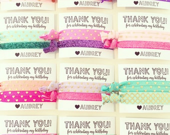 Birthday Party Hair Tie Favors | Custom Hair Tie Favors, Personalized Party Favors, Rainbow Pastel Bright Summer Colors, Girls Kids Party