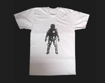 Astronaut t-shirt, graphic tee, men's graphic tshirt, silkscreen, screenprint, mens tee, new silver, light gray