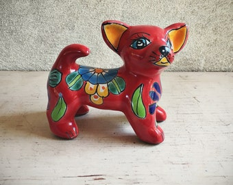 Talavera Pottery Chihuahua Figurine Red Dog Mexican Pottery Dog Decor, Dog Collectibles, Mexican Decor, Southwestern Decor, Chihuahua Dog