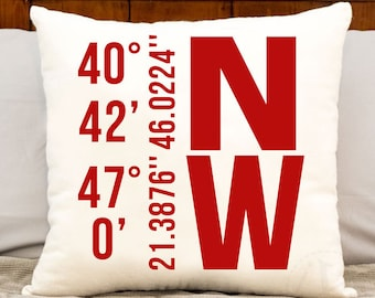 Personalized Christmas gift and excellent home decor, housewarming gift, accent pillow, personalized latitude and longitude pillow