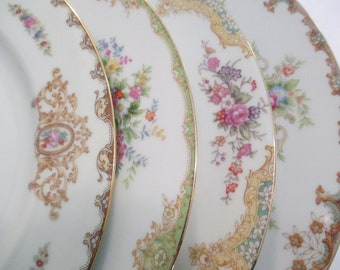 Vintage Mismatched China Dinner Plates, Shabby, Mother's Day, Farmhouse, Garden Party, Wedding China, Wedding,Bridal Luncheon - Set of 4