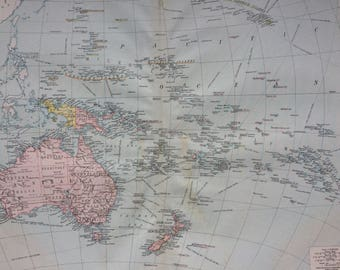 Large map of oceania Etsy