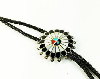 Zuni Sunface Bolo Slide and Black Leather Bolo Tie - Native American Sunface Bolo Slide = Mother of Pearl Silver Tone Vintage