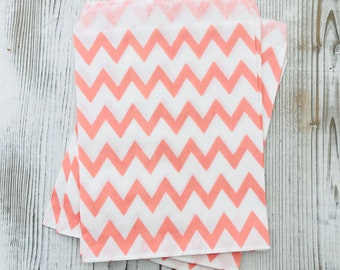Pink Chevron Party Bag - Pink Party Bag - Candy Buffet Bag - Pink Treat Bag - Zig Zag Party Sack - Pink Party Supplies - Pink Candy Bag