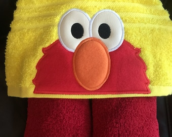 Elmo inspired hooded towel bath/pool/beach, kids or adult sizes, perfect gift for any occasion