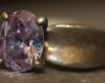 Old Vintage Sterling Silver Amethyst Solitaire Stone Ring