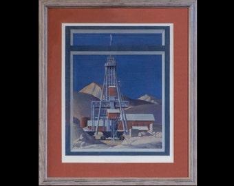 Anselmo Hoist Butte, MT tempra painting by Elizabeth Lochrie
