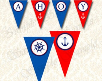 Nautical Baby Shower, Ahoy Its A Boy Pennant Banner - Blue and Red Boys Baby Shower Printable Decor