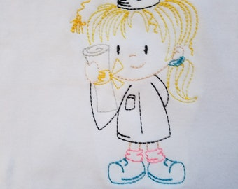 Graduate Girl Sketch Embroidery Shirt--Made to Order--Size3-10