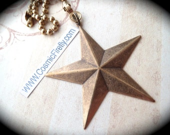 Nautical Star Fan Pull Chain Steampunk Fan Pull Texas Star Ceiling Fan Pull Five Pointed Antiqued Brass Star Handcrafted Made In USA