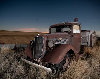 Ford Truck, Vintage Ford Truck, Rusty Truck Photo, Rural Landscape, Night Photograph, Wall Art, Farm Art, Rural America, Night Sky, Moon