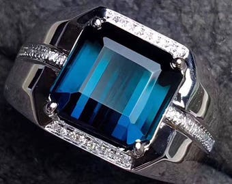 Indicolite Tourmaline Ring Eye Clean Indicolite Tourmaline AAA+ Faceted Cushion 9.9 x 9.5 MM Diamonds 18K White Gold Ring Jewelry