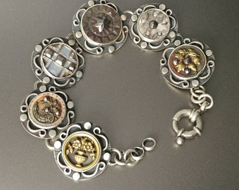 Antique French Button Bracelet from Paris France - Sterling Silver Hand Crafted Sterling Silver Bracelet
